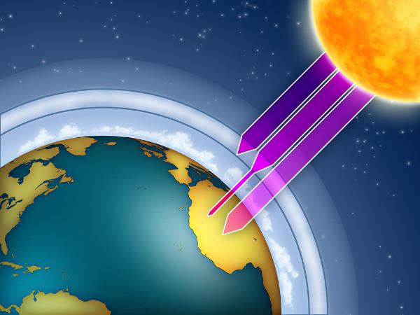 A camada de ozônio atua como uma barreira, retendo parte dos raios ultravioleta, que são prejudiciais aos seres vivos.