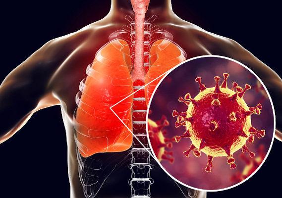 Ilustração de vírus localizado no pulmão