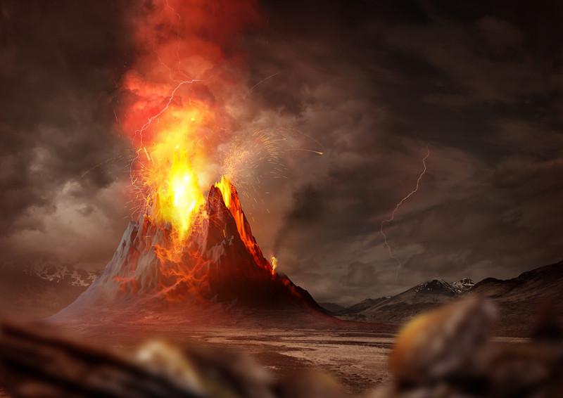 Os gases que formavam a atmosfera primitiva eram expelidos constantemente pelos vulcões.