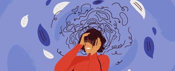 Desenho de mulher com ansiedade
