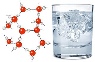 Ligações de hidrogênio e gelo na água