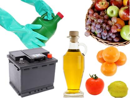 Exemplos de ácidos no cotidiano (em produtos de limpeza, baterias, no vinagre e em frutas)