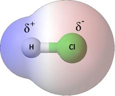 Molécula polar de cloreto de hidrogênio