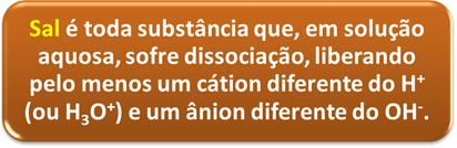 Definição de sal segundo a teoria eletrolítica de Arrhenius