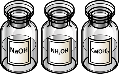 Frascos de laboratório de soluções de bases: hidróxido de sódio, hidróxido de amônio e hidróxido de cálcio