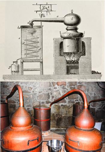 Ilustração de um velho alambique de cobre acima e alambique de verdade na parte inferior da imagem