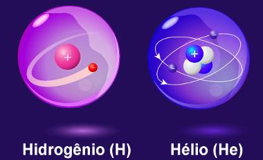 Átomos de hidrogênio e hélio
