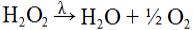 Exemplo de equação química com presença de luz