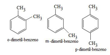 Nomenclatura de alguns hidrocarbonetos aromáticos ramificados através dos prefixos orto, meta e para