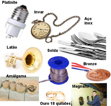 Exemplos de ligas metálicas