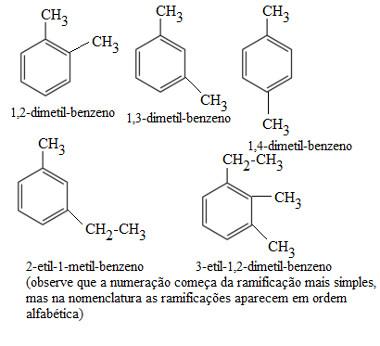 Nomenclatura de hidrocarbonetos aromáticos com ramificações alquila