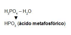 Formação do ácido metafosfórico