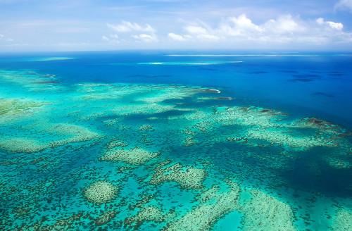 A Grande Barreira de Coral na Austrália é um exemplo de atol. Possui cerca de 2 mil quilômetros de comprimento