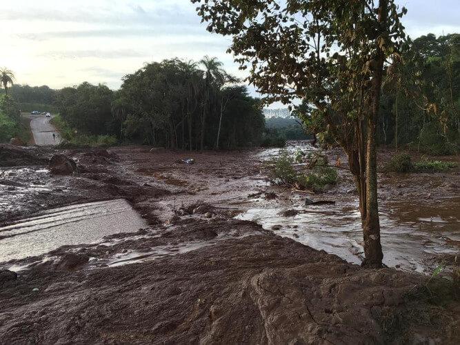Área afetada pelo rompimento de barragem em Brumadinho
