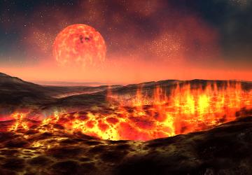 A Terra primitiva era quente, com grande quantidade de erupções vulcânicas e constantemente atingida por meteoros