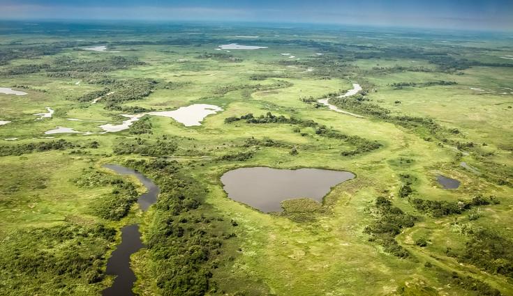 Durante as chuvas abundantes, as lagoas do Pantanal intercomunicam-se e unem-se às águas dos rios, inundando a região
