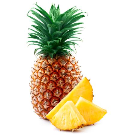 No abacaxi, a parte comestível (fruta) desenvolveu-se de diversas peças florais. Os frutos são cada escama da casca