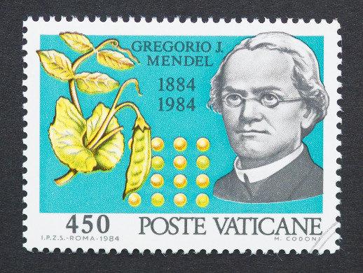 Selo postal impresso na Cidade do Vaticano mostrando uma imagem de Gregor Mendel*